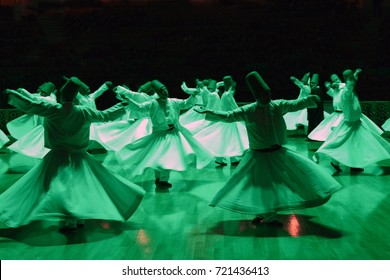 MARCH 28,2015 KONYA TURKEY Sufi whirling is a form of Sama or physically active meditation which originated among Sufis.Exposed at high ISO.Blurring may occured