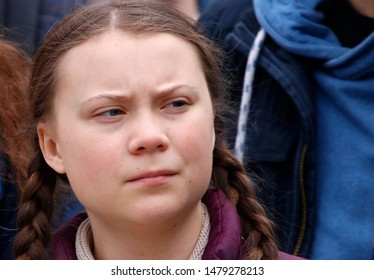 """MARCH 29, 2019 - BERLIN: climate activist Greta Thunberg at a """"Fridays for Future"""" demonstration for immediate action against climate change."""