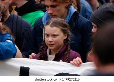 "MARCH 29, 2019 - BERLIN: climate activist Greta Thunberg at a ""Fridays for Future"" demonstration for immediate action against climate change."