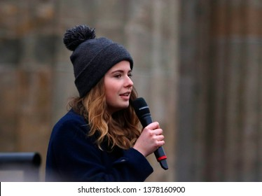 "MARCH 29, 2019 - BERLIN: Luisa Neubauer at a ""Fridays for Future"" demonstration."