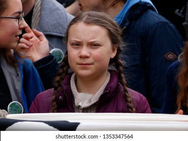 "MARCH 29, 2019 - BERLIN: Swedish climate activist Greta Thunberg at a ""Fridays for Future"" demonstration."
