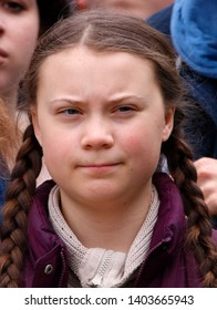 """MARCH 29, 2019 - BERLIN: Swedish climate activist Greta Thunberg at a """"Fridays for Future"""" demonstration."""