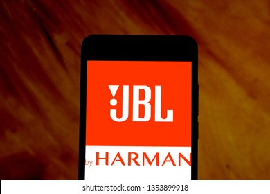 March 29, 2019, Brazil. JBL logo on the mobile device. JBL is a US-based audio electronics company based in Los Angeles, California, United States.