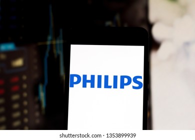 March 29, 2019, Brazil. Philips logo on your mobile device. Philips is a Dutch company with products focused on technology and consumer products and lifestyle.