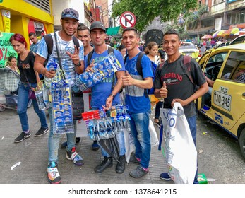 March 29, 2019- Cucuta/Colombia: Young Venezuelan men working as street vendors in Cucuta, a Colombian border city brimming with Venezuelan migrants fleeing their country's economic turmoil.