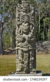 """March 2nd 2020, Copan, Honduras, Central America: stela of maya ruler in Copan. Copan is an archaeological site of the Maya civilization, not far from the border with Guatemala"""