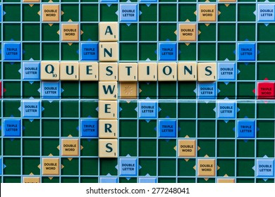 March 3, 2015 - Dhaka, Bangladesh - illustrative editorial of Scrabble tiles spelling Question Answer