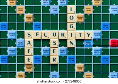 March 3, 2015 - Dhaka, Bangladesh - illustrative editorial of Scrabble tiles spelling Security, Safe, user, login