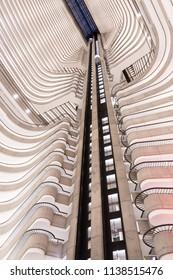 March 3, 2018: Atlanta, United States: Balconies and Elevator Shaft in Atrium of modern hotel
