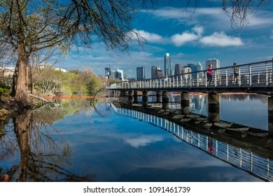MARCH 3, 2018, AUSTIN SKYLINE AND LADY BIRD LAKE - Austin Texas skyline. The Boardwalk Trail at Lady Bird Lake