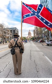 MARCH 3, 2018 - AUSTIN TEXAS - Confederate Flag at  annual Texas Independence Day parade to the Texas Capitol. An official state holiday