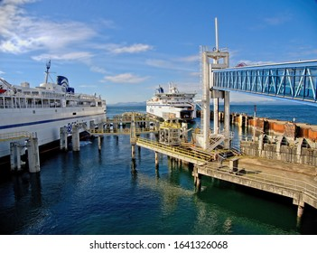 March 3, 2019 - Vancouver BC, Canada. Tsawwassen ferry terminal with two large ferry ships