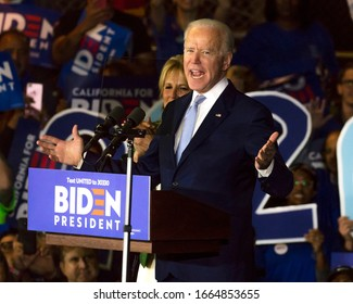 MARCH 3, 2020, LOS ANGELES, CA., USA - Vice President Joe Biden delivers Super Tuesday Victory Speech Baldwin Hills Rec Center