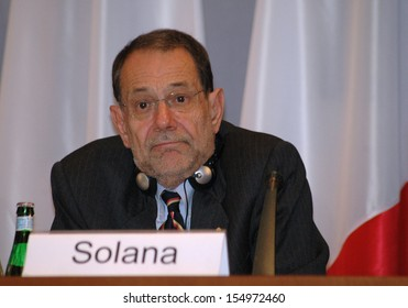 MARCH 30, 2006 - BERLIN: Javier Solana at a meeting of foreign ministers in the Foreign Ministry of Germany on policies regarding Iran, Berlin.