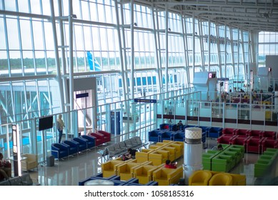 March 30 2018 Bandar Lampung : View of waiting room Radin Inten II Air Port