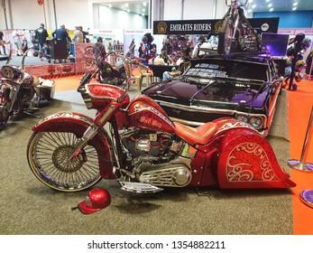 March 30, 2019 - Abu Dhabi, UAE: Customized bikes, classic bikes at display