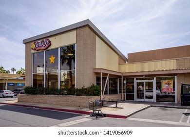 March 30, 2019 Carl's Jr fast food restaurant in Palm Springs, California, built in midcentury modern style.