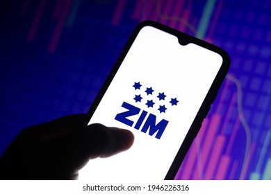 March 30, 2021, Brazil. In this photo illustration a Zim Integrated Shipping Services logo seen displayed on a smartphone