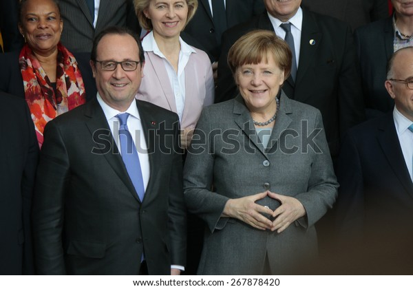 MARCH 31, 2015 - BERLIN: Francois Hollande, BKin Angela Merkel - meeting of the German Chancellor and the French President in the Chanclery in Berlin.