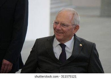 MARCH 31, 2015 - BERLIN: Wolfgang Schaeuble at a photo opp before a meeting of members of the French and German government in the Chanclery in Berlin.
