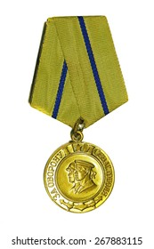 "March 31, 2015: Medal ""For the Defence of Sevastopol"" on a white background"