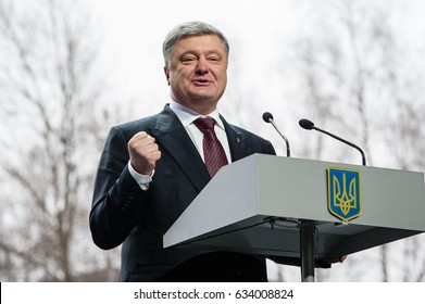 March 31, 2017. Kyiv, Ukraine. President of Ukraine Petro Poroshenko  during the presentation of the new transport aircraft AN-132D.