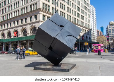 March 31, 2018: The Alamo Cube sculpture at Astor Place, Manhattan, New York City