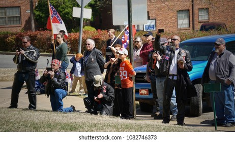 March 31 2018 Little Rock, Arkansas: Confederate group demonstrates on the grounds of the Arkansas state capitol