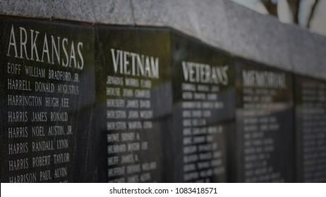 March 31 2018 Little Rock, Arkansas:  Vietnam Veterans Memorial on the Arkansas state capitol grounds