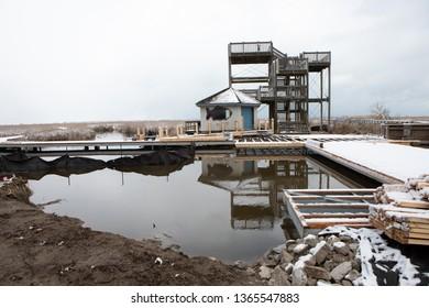 March 31 2019 Leamington, Ontario Canada Parks Point Pelee Boardwalk Under Construction