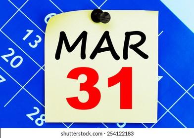 March 31 Calendar. Part of a set