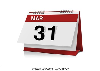 March 31 desktop calendar isolated on white background with clipping path.