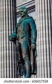 MARCH 4, 2017 - JEFFERSON CITY - MISSOURI  - statue of Thomas Jefferson is show in front of Missouri state capitol building in Jefferson City