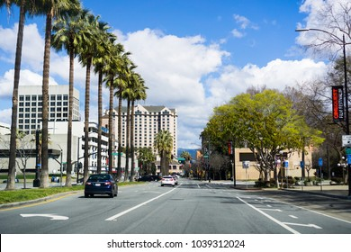 March 4, 2018 San Jose / CA / USA - Driving in downtown San Jose, south San Francisco bay area