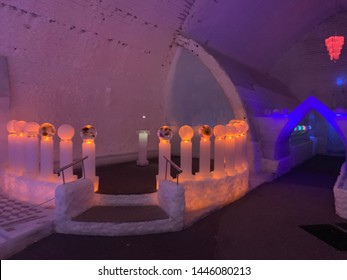March 5 2017 : Aurora Ice Museum , Fairbanks, Alaska : spectacular ice sculptures enhanced with colorful lighting, Chena Hot Springs Resort, Fairbanks, Alaska, USA
