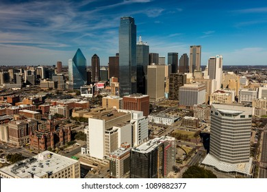MARCH 5, 2018, DALLAS SKYLINE TEXAS, as seen from Reunion Tower Observeration Deck