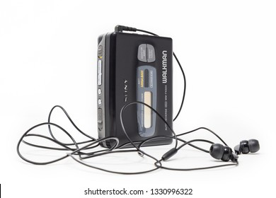 March 5, 2019 - Rome, Lazio, Italy - The original sony walkman, vintage portable cassette player, icon and symbol of the 80s and 90s. headphones isolated on white background.