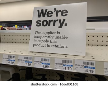 March 5, 2020 - Gilbertsville, PA CVS Store shelves are bare for hand sanitizer shortage during Coronavirus covid-19 global health scare as a printed sign describes sold out conditions