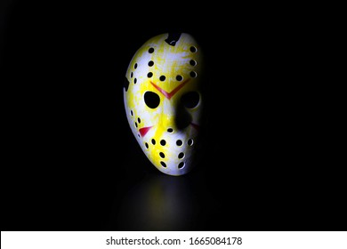"""March 6, 2020, Russia, St. Petersburg - Mask of maniac Jason Voorhees from the movie """"Friday, the 13th"""" on a black background"""