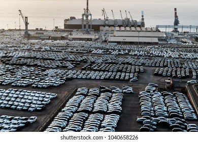 March 7, 2018 - Eilat, Israel. Newly imported cars at the port of Eilat before being transported to dealers in Israel.