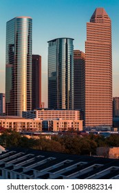 MARCH 7, 2018 , HOUSTON, TEXAS - High rise buildings in Houston cityscape illuminated at sunset, Texas, United States