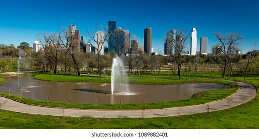 MARCH 7, 2018 , HOUSTON, TEXAS - High rise buildings in Houston cityscape from Glenwood Cemetery, Texas, United States,