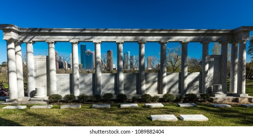 MARCH 7, 2018 , HOUSTON, TEXAS - High rise buildings in Houston cityscape from Glenwood Cemetery, Texas, United States, Texas, United States