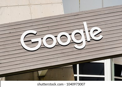 March 7, 2018 Mountain View / CA / USA - Google logo on one of the buildings situated in Googleplex, the company's main campus
