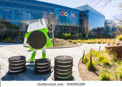 "March 7, 2018 Mountain View / CA / USA - Android 8.0 ""Oreo"" is the newest version of the Android mobile operating system; Here is a statue located at the Company's main HQ in Silicon Valley"