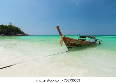 March 7,2010 Fishing Long tail boat (Traditional boat) on the sea with blue sky at Koh Lipe,Satun,Thailand
