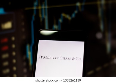 """March 8, 2019, Brazil. Logo of world leader in financial services """"JPMorgan Chase"""", on the screen of the mobile device. Company operates in more than 100 countries and funds the US Open tennis."""