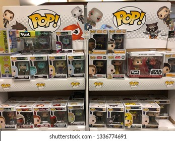March 8, 2019 - Maple Grove, MN: Funko Pop! Figures on display at a retail store. This company produces licensed pop culture collectible dolls