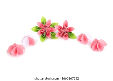 March 8 greeting card with paper flowers on a white background, isolated