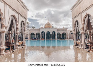 MARCH 8,2019: Image of interiors in Royal Mansour Marrakesh luxury hotel in Morocco.